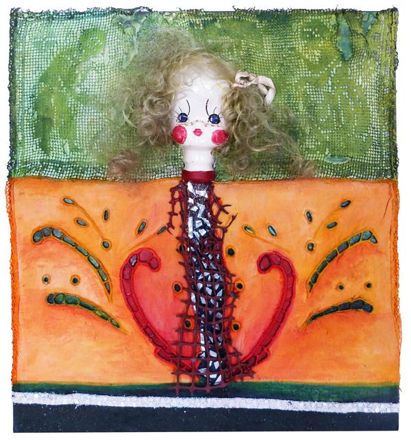 Título: Aurora y el ocaso Medidas: 36 x 33 cm Técnicas: Collage sobre madera, acrílico y temple. Gabriela Paludi Año: 2012