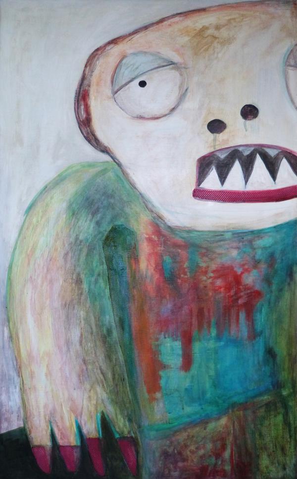"""Título: Soñador Serie """"Podría decirte que recién me despierto, pero no, no pude dormir en toda la noche""""Medidas: 60 cm de ancho x 98 cm de altoTécnica: Pintura sobre madera.Año 2013."""