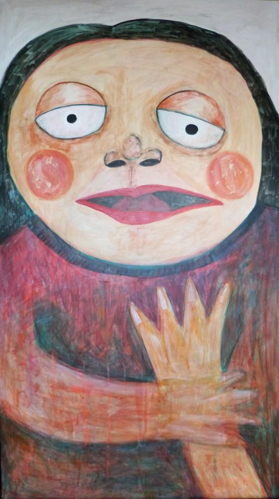 """Título: Soñadora Serie """"Podría decirte que recién me despierto, pero no, no pude dormir en toda la noche""""Medidas: 62 cm de ancho x 111 cm de altoTécnica: Pintura sobre madera.Año 2013."""