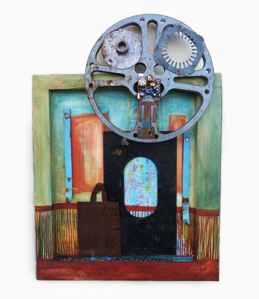 Título: Visita inesperada <br>Medidas: 61 x 28,5 cm <br>Técnica: Pintura/Collage<br>Año: 2015